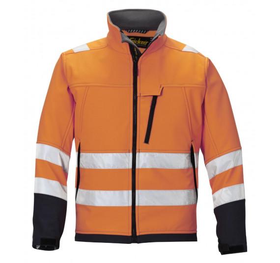 Snickers Workwear High-Vis Softshell Arbeitsjacke, Klasse 3, 1213, Farbe High Visibility Orange/Steel Grey, Größe M Regular