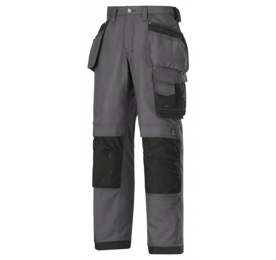 Snickers Workwear Arbeitshose mit Holstertaschen, Canvas+, 3214, Farbe Steel Grey/Black, Größe 52