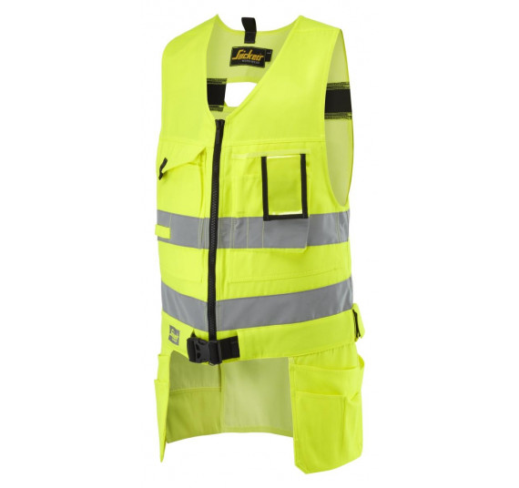 Snickers Workwear High-Vis Handwerker Werkzeugweste, Klasse 2, 4233, Farbe High Visibility Yellow/Base, Größe L Regular